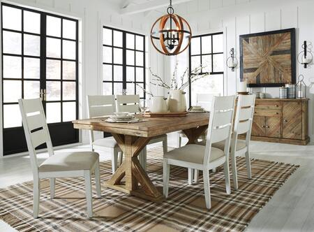 Grindleburg Collection D754-125-6SC01-B 8-Piece Dining Room Set with Rectangular Dining Table  6 Side Chairs and Server in Light Brown