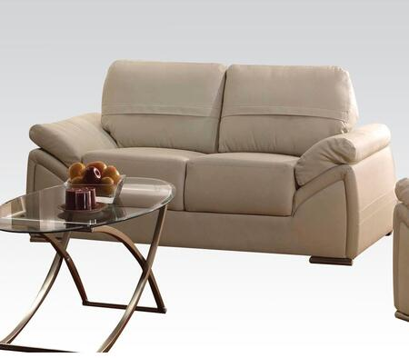 Ember Collection 51696 70 inch  Loveseat with Pillow Top Arms  Wood Frame  Loose Back Cushions  Chrome Legs and Bycast PU Leather Upholstery in Ivory