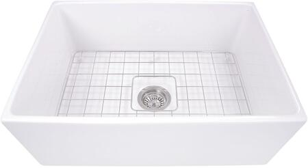 T-FCFS27 27 Inch Farmhouse Fireclay Sink with Drain and