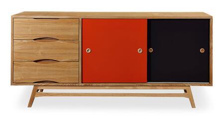 STO-SB-COLORPOP-OAK Color Pop Mid-Century Modern Sideboard Credenza  Oak/Orange And Charcoal