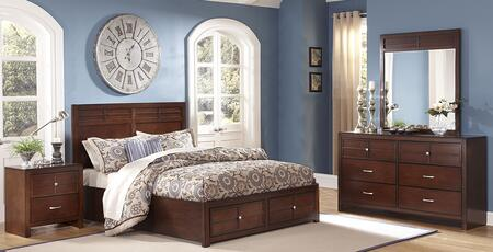 00060esbdmn Kensington 4 Piece Bedroom Set With King Storage Bed  Dresser  Mirror And Nightstand  In Burnished