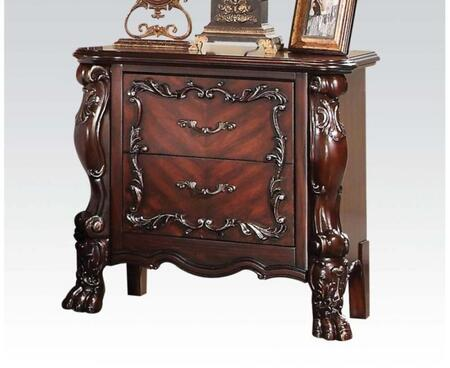 Westerland Collection 26013 31 inch  Nightstand with 2 Drawers  Claw Feet  Aged Iron Metal Hardware  Scroll Arches  Floral Accents and Pine Wood Construction in