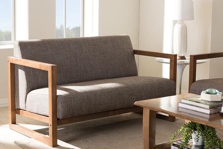 BBT8019-LS-GRAVEL-TH1308 Baxton Studio Valencia Mid-Century Modern Walnut wood Finished Gravel Fabric Upholstered 2-Seater