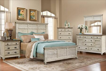 Shades of Sand Collection CF-2302-0489-K-5PC 5-Piece King Bedroom Set with Panel Bed  Dresser  Mirror  Nightstand and Chest in Antique