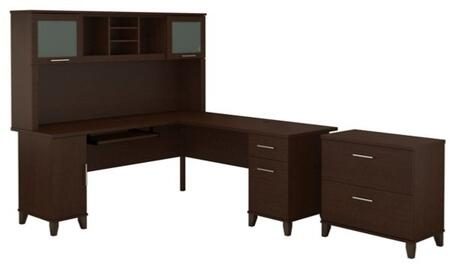 Somerset WC81810K-11-80 2-Piece Desk and Hutch Set with Lateral File Cabinet in Mocha