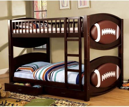 Olympic II Collection CM-BK065-FBLL-T-BED Twin Size Bunk Bed with Football-Theme  Storage Drawers  Solid Wood and Wood Veneer Construction in Dark Walnut