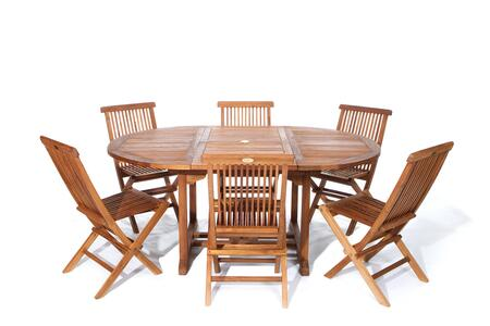 TE70-22 7-Piece Patio Set with Oval Extension Table and Six Teak Folding Chairs in Light Teak