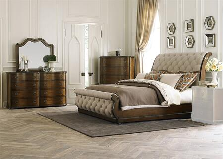 Cotswold Collection 545-BR-KSLDMC 4-Piece Bedroom Set with King Sleigh Bed  Dresser  Mirror and Chest in Cinnamon