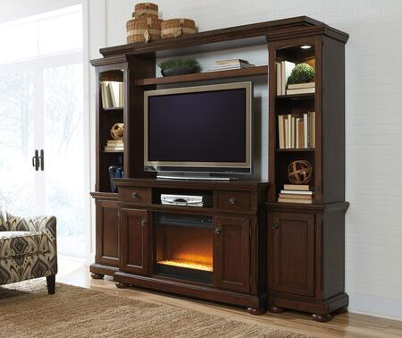 Porter Collection W697120ENTF02 86 inch  5-Piece Entertainment Center with W100-02 Fireplace Insert  TV Stand  Left Pier  Right Pier and Bridge in Rustic