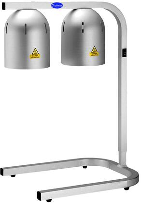 WL2 Chefmate Countertop Food Warming Lamp with 500W Dome Lamps and Two Bulbs  and 5 Adjustable Height Levels in Brushed Aluminum