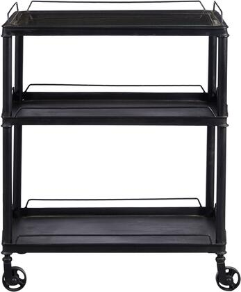 DS-D051018 25 inch  3 Shelves Mirrored Tray Top Metal Bar Cart with Casters  Removable Top Shelf and Inset Antiqued Mirror in