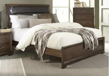 Skyline B112-34-35-78 Queen Upholstered Bed with Upholstered Headboard  Panel Footboard and Side Rails in Root