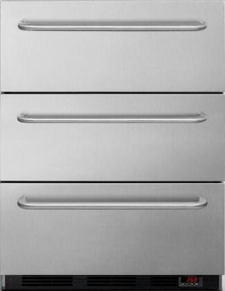 EQFM3DADA 24 inch  ADA Compliant 3 Drawer Freezer with 3.2 cu. ft. Capacity  Digital thermostat  3 Professional Towel Bar Handles  Manual Defrost  Hospital Grade