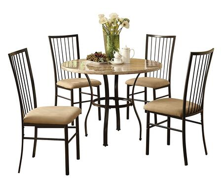 Darell Collection 70295 5 PC Dining Room Set with White Faux Marble Top  Microfiber Seat Cushions  Slat Backrests  Supporting Table Ring and Metal Construction