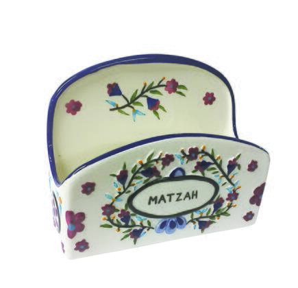 MT-620 Hand Painted Passover Standing Matzah Holder with Floral Design in