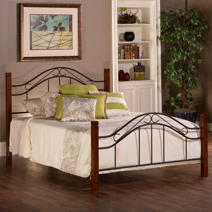 Matson Collection 1159BF Full Size Headboard and Footboard Set with Open Frame Panel Design  Scrolled Metal Details and Solid Wood Posts in Cherry and