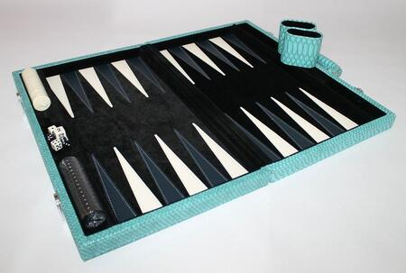 CRO201BL 18 inch  Backgammon Set with Plush Black Velvet Inlay  Instructions  Dice  Playing Cups  and Chips: Faux Crocodile