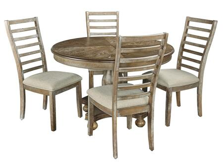 Halsey  Collection D1111D17 5-Piece Dining Set with Round Dining Table and 4 Side Chairs in Woodgrain