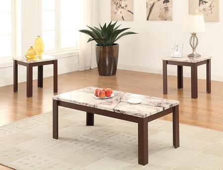 Carly Collection 82132 3 PC Living Room Table Set with 2 End Tables  Coffee Table  Faux Marble Top and Veneer Materials in Cherry