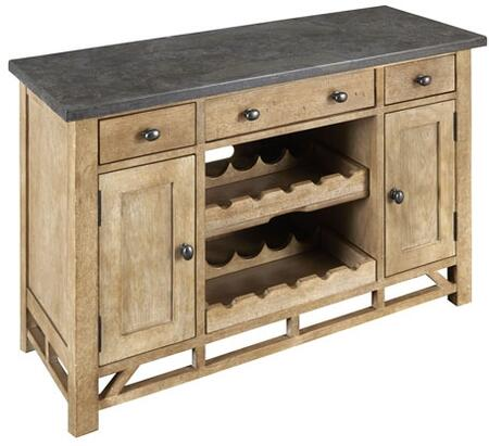 West Valley WVARW9350 50 inch  Server/TV Console with Bluestone Top  Solid Poplar Base Adjustable Shelves and Wine Rack in Rustic Wheat