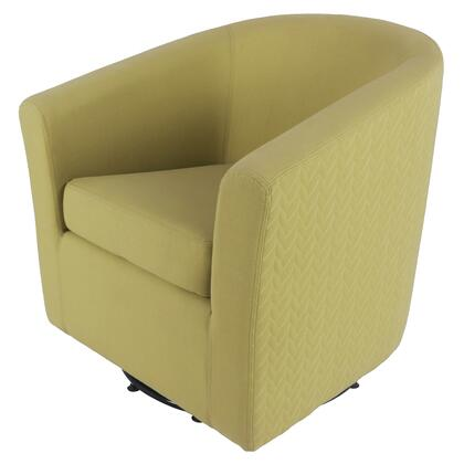 Hayden Collection 193012-2416 Chair with 360 Degree Swivel and Fabric Upholstery in Citron/Lime Leafage