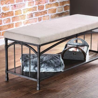 Itzel CM-BN6255 Bench with Industrial Design  Padded Linen-like Fabric  Open Shelf with Triple Bar Side Design  Solid Wood  Wood Veneer  Others in Dark