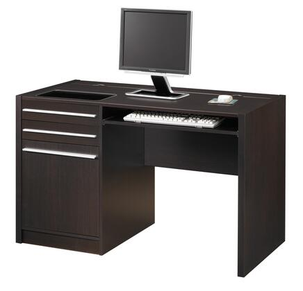 800702 Ontario Contemporary Single Pedestal Connect-In Computer Desk with Charging Station  Two Small Drawers  One Large Drawer  Silver Drawer Handles and Roll