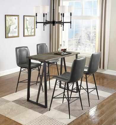 182621-S5 5-Piece Bar Table Set with Rectangular Bar Table and 4 Bar Stools in Rustic Brown and
