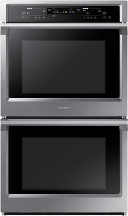 "NV51K6650DS 30"" Double Wall Oven with 10.2 cu. ft. Total Capacity  Dual Fan True Convection  Steam Cooking  Backlit Touch Controls and Wifi  in Stainless"