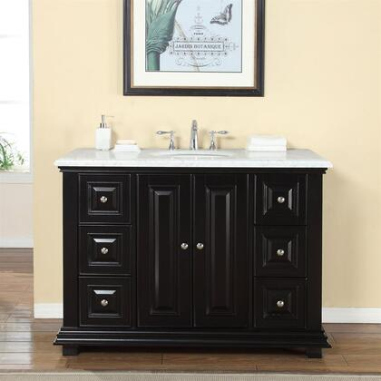 V0282WW48C 48 inch  Single Sink Cabinet with 7 Drawers  2 Doors  Carrara White Marble Top and Undermount White Ceramic Sink