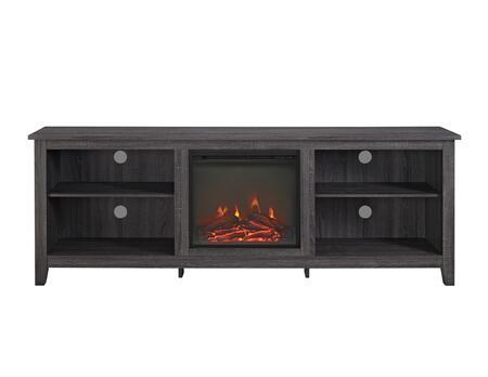 W70FP18CL 70 inch  Wood Media TV Stand Console with Fireplace in