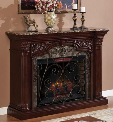 33WM0194-C232 Astoria Electric Fireplace with Decorative Metal Fire Grate  Carved Column Capitals and Marble Top in Empire Cherry