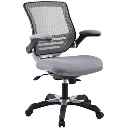 Edge Collection EEI-594-GRY Office Chair with Adjustable Seat Height  Flip-Up Arms  Casters  Tilt Tension Control  Mesh Backrest  Sponge Seat and Fabric Seat