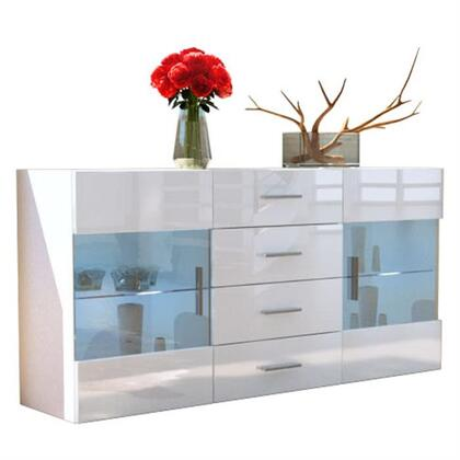 LH-501-W 55 inch  Sideboard with Led Light  Lacquer Finish and Tempered Glass Doors and Shelves in