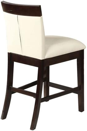 Keelin Collection 71043 Set of 2 24 inch  Counter Height Chairs with Footrest  Espresso Legs and Bycast PU Leather Upholstery in Beige