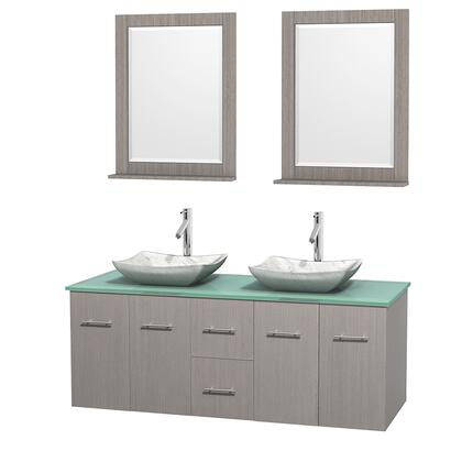 Wcvw00960dgogggs3m24 60 In. Double Bathroom Vanity In Gray Oak  Green Glass Countertop  Avalon White Carrera Marble Sinks  And 24 In.