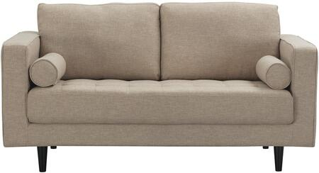 Arthur 982HL4 2-Seat Loveseat with Piped Stitching  Button Tufting and Tweed Fabric in