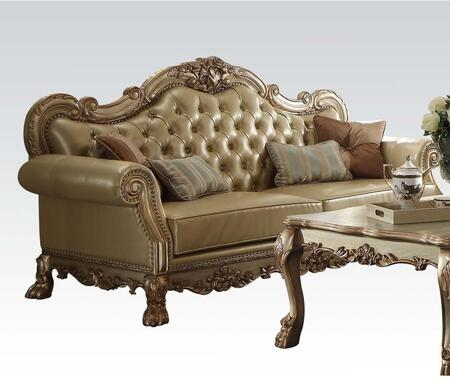 Dresden Collection 53160 87 inch  Sofa with 4 Pillows Included  Loose Seat Cushions  Bone PU Leather UpholAspen and Poplar Wood Frame in Gold Patina