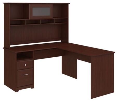 Cabot WC31430-03K-31 Desk and Hutch with One Door  One Drawer and One Filing Cabinet in Harvest