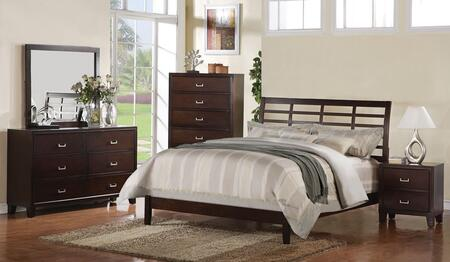 20087EKDMCN Preston Eastern King Size Lattice Panel Bed + Dresser + Mirror + Chest + Nightstand in Cappuccino