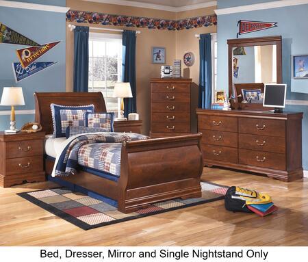 Wilmington Twin Bedroom Set With Sleigh Bed  Dresser  Mirror And Nightstand In Reddish