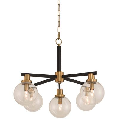 315451BBB Cameo 5-Light Pendant Ceiling Light Style  120V in Matte Black Finish with Brushed Pearlized Brass