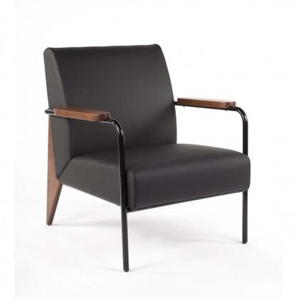 Linz FX88601BLK Arm Chair with Tapered Legs  Piped Stitching and Leatherette Upholstery in Black and