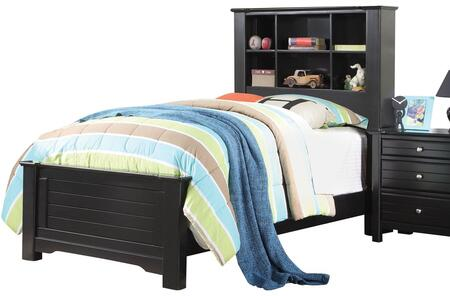 Mallowsea Collection 30380T Twin Size Bed with Bookcase Headboard  Low Profile Footboard and Solid Pine Wood Construction in Black
