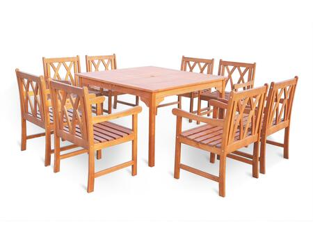 V1401set16 Malibu Eco-friendly 9-piece Outdoor Hardwood Dining Set With Square Table And Arm