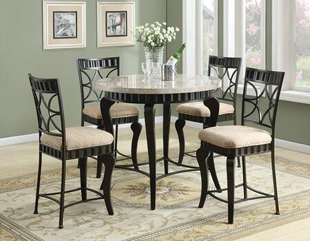 Lorencia 18294T4C 5 PC Bar Table Set with Counter Height Table + 4 Chairs in Black with Gold Brushed