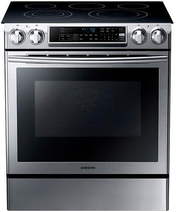 "NE58F9500SS 30"" 5.8 Cubic Foot Slide-In Electric Range With Self-Cleaning Oven  Dual Convection System  SteamQuick  Guiding Light Touch Screen Controls  Glass"