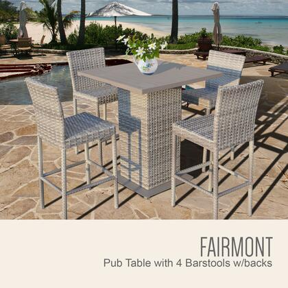 FAIRMONT-PUB-WITHBACK-4 5-Piece Fairmont Pub Table Set with Pub Table and 4 Bar Stools with