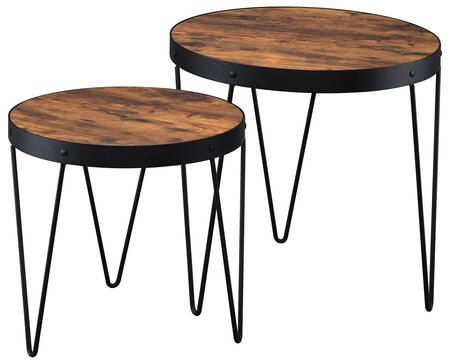 901944 2-Piece Nesting Table Set with Black Metal Frame & Legs  Nail Head Accents and Cherry Veneer Top in Honey