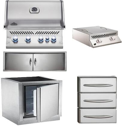 5-Piece Stainless Steel Outdoor Kitchen Package with BIPRO500RBNSS2 31 inch  Natural Gas Grill  BISZ300NFT 20 inch  Side Burner  IMFHR 35 inch  Outdoor Refrigerator